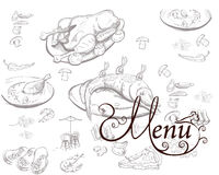 Food illustrations for restaurant or cafe menu. Stock Image