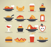 Food images in info-graphic style. Large vector collection of food images Royalty Free Stock Image