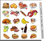 20 food images. Vector images of prepared meals and drinks royalty free illustration