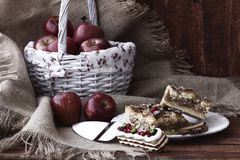 Food. Includes photos of the basket in wood and fabric on a plate of apples and apple pie Royalty Free Stock Photo