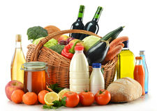 Food including vegetables, fruits, bread and wine Stock Images
