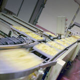 Food industry. Detail of the conveyor belt of food industry Stock Photo
