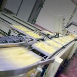 Food industry. Detail of tape conveyor Stock Images