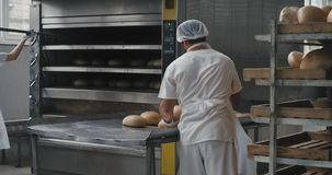 Food industry bakery factory working hard professional workers in the white uniform unloaded the cooked bread from oven. Machine and load to the shelves stock video footage