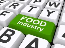 Food industry button. An illustration of a keyboard with a button labeled with the words Food industry vector illustration