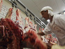 Food industry. SAO PAULO, BRAZIL, MARCH 09, 2006. Meat processing in food industry Stock Images
