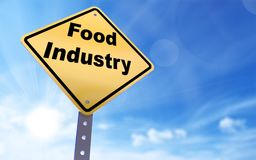 Food industry sign. On blue sky background,3d rendered Stock Image