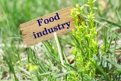Food industry wooden sign. Food industry on wooden sign in garden with flower stock images