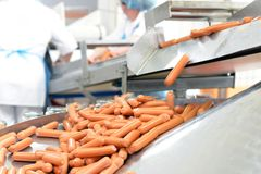 Food industry: workers in the production of original German brat stock photography