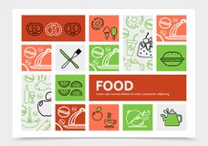 Food Infographic Concept. With pretzel ice cream pan kettle fish cake apple watermelon slices wine chicken donut knife fork line icons vector illustration Stock Photo