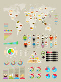 Food Infographic set with colorful charts Stock Photos
