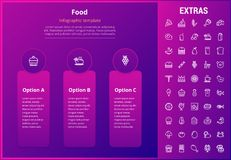 Food infographic template, elements and icons. Food options infographic template, elements and icons. Infograph includes line icon set with food ingredients Stock Photos