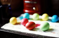 Food ingredient close-up eggs multicolors indoor easter. Eggs food multicolors close-up spring light stock images