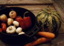 food ingredient close-up pumpkin pepper tomatoes champignons carrot wood table background vegetable stock photos