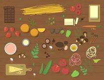 Different food ingredient pasta bolognese and spaghetti lunch dinner tomato salad collage vector illustration Royalty Free Stock Photo