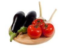 Food  ingredient - eggplants and tomato Stock Photography