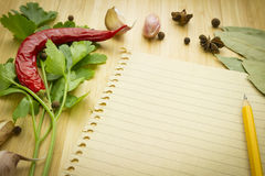 Food ingredient with empty paper Royalty Free Stock Photography