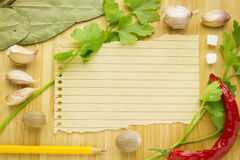 Food ingredient with empty paper Stock Image