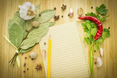 Food ingredient with empty paper Royalty Free Stock Photo