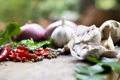 Food ingredient ginger ,chili pepper and  garlic on wooden table Royalty Free Stock Photography