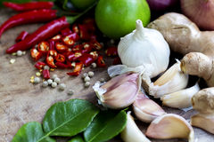 Food ingredient ginger ,chili pepper and  garlic on wooden table Stock Photo
