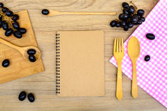 Food ingredient and kitchenware with notebook Stock Photography