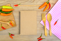 Food ingredient and kitchenware with notebook Royalty Free Stock Images