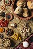 Food Ingredient mixture. Ingredient mixture may include a variety of ingredients from cumin, fennel, coriander, cardamom, cinnamon, cloves, poppy seeds, saffron Royalty Free Stock Image