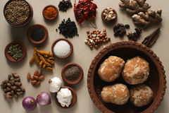 Food Ingredient mixture. Ingredient mixture may include a variety of ingredients from cumin, fennel, coriander, cardamom, cinnamon, cloves, poppy seeds, saffron Stock Image