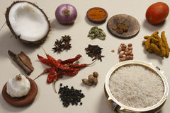 Food Ingredient mixture. Ingredient mixture may include a variety of ingredients from cumin, fennel, coriander, cardamom, cinnamon, cloves, poppy seeds, saffron Stock Photo