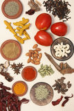 Food Ingredient mixture. Ingredient mixture may include a variety of ingredients from cumin, fennel, coriander, cardamom, cinnamon, cloves, poppy seeds, saffron Royalty Free Stock Images