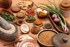 Food Ingredient mixture. Ingredient mixture is a combination of spices, herbs and other condiments are ground together, it is also called masala Stock Photography