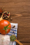 Food ingredient and spices on wood Stock Photo