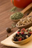 Food ingredient and spices on wood Royalty Free Stock Photography