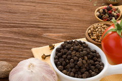 Food ingredient and spices on wood Royalty Free Stock Photos