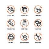 Food ingredient warning vector icons.. Food ingredient warning vector icons. Phosphate free, without gmo, no gluten organic product symbols. Forbidden sugar Stock Images
