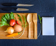 Food ingredient on wooden cutting board Stock Images