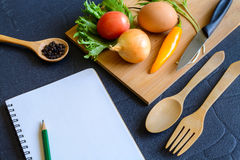Food ingredient on wooden cutting board Stock Photos