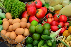 Food ingredients. Fruits, vegetables, eggs, used as a component of the meal Stock Image