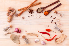 Food ingredients background for menu design and advertising Stock Images