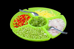 Food ingredients in the big dish,this have clipping path Stock Photos