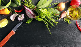 Food Ingredients Beside Black Chopping Board. Stock Images
