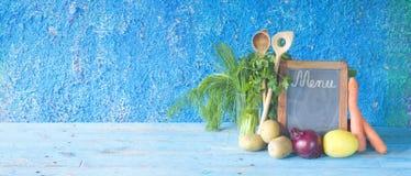 Food ingredients, blackboard menu template Royalty Free Stock Images