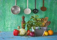 Food ingredients, blackboard,utenslis, Stock Photography