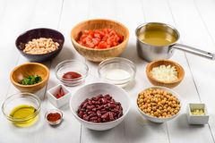 Food Ingredients For Chili Bean Stew On White Table Stock Photos