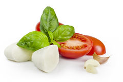 Food ingredients with CLIPPING PATH. Tomato, mozzarella, basil and garlic with clipping path Stock Photography