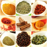 Food ingredients collage. Healthy food ingredients and spices collage Royalty Free Stock Photo