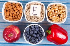 Food containing vitamin E, minerals and dietary fiber, healthy nutrition stock images