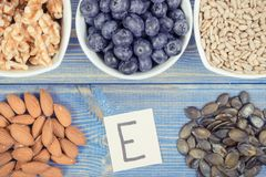 Food containing vitamin E, minerals and dietary fiber, healthy nutrition Royalty Free Stock Images