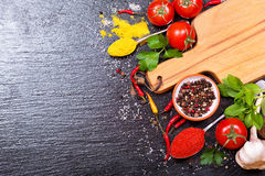 Food ingredients for cooking with empty board Stock Photo